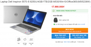 Laptop Dell Inspiron 5570 i5 8250U