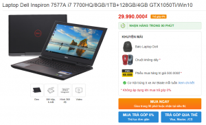 Laptop Dell Inspiron 7577A i7 7700HQ